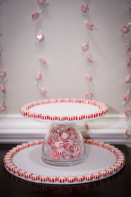Homemade cake stand using a dollar store glass vase and cardboard cake plates.