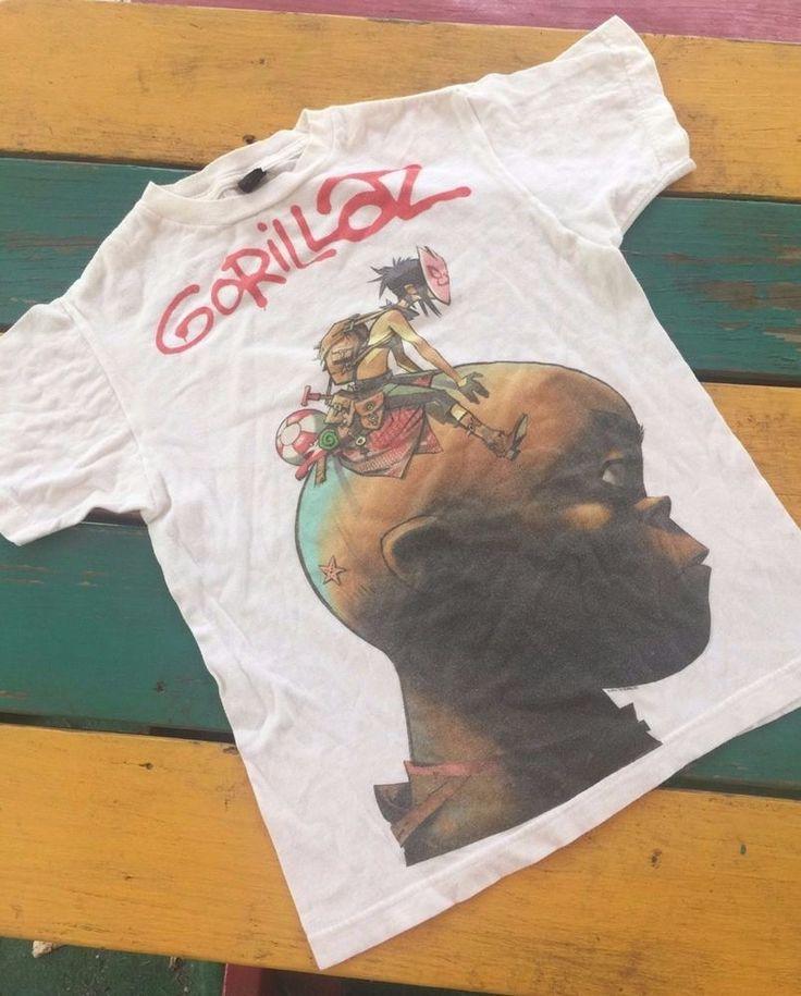 Gorillaz band white graphic tour Jamie Hewlett T-shirt womens juniors XS #tultex #GraphicTee
