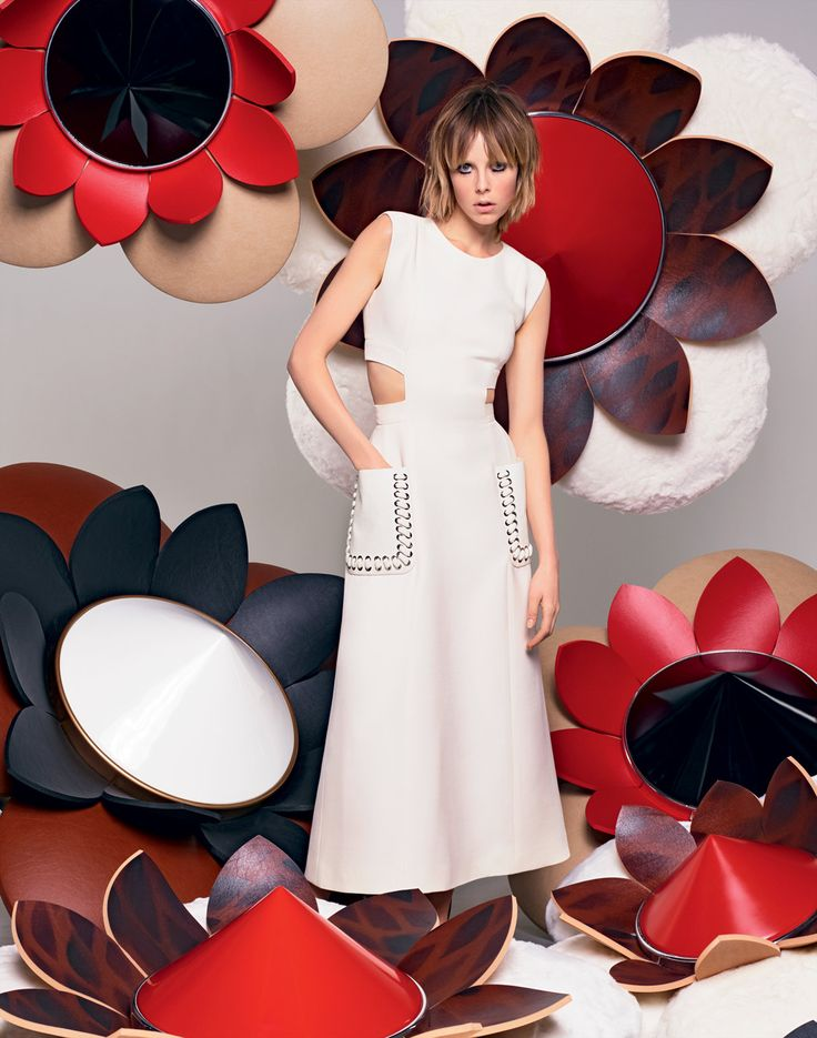 The Fendi S/S16 collection set in an explosion of flowers for the new advertising campaign starring Edie Campbell and shot by Creative Director Karl Lagerfeld.