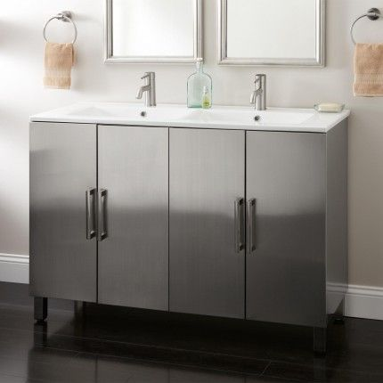Website Picture Gallery  Fasula Stainless Steel Double Vanity