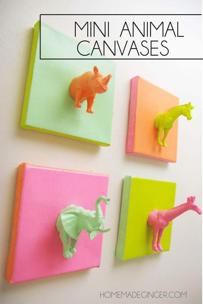 45ec64fef This cute DIY canvas art made with plastic animals and paint is such a fun  and easy idea! It's perfect for a nursery, kids' room, or craft studio.