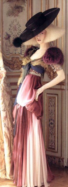 & w h i m s i c a l  w o n d e r s  ♔ Christian Lacroix Haute Couture; long dress; cream; pink; yellow; dark purple