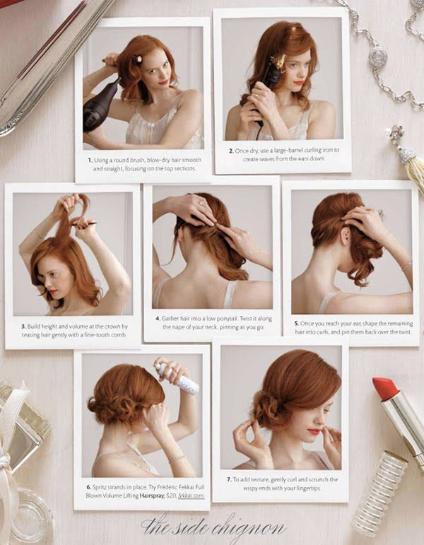 This is a beautiful DIY Messy and dressy Chignon. Doesn't it look good with her red hair? I must find some models, and hopefully at least one of them a redhead to try this on!