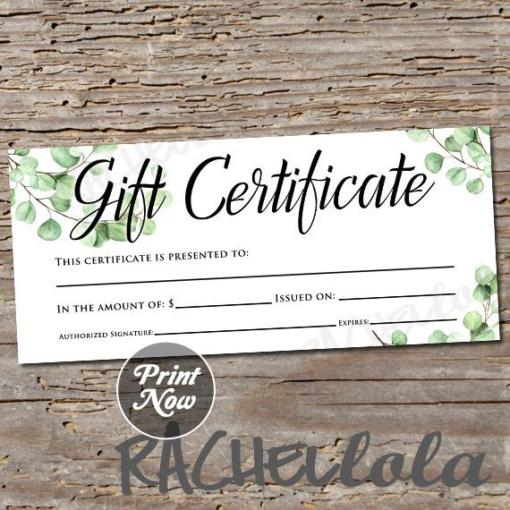 Eucalyptus Greenery Printable Gift Certificate Template Christmas Birthday Mo Gift Certificate Template Printable Gift Certificate Client Appreciation Gifts