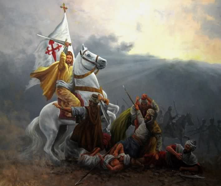 """¡Santiago y cierra, España! is an alleged war cry of Iberian troops during the Reconquista, and of the Spanish Empire. In English, it is often translated as """"Santiago and close, Spain!"""" or """"Santiago and at them, Spain!"""" Supposedly, its first usage was during the Battle of Las Navas de Tolosa, and was utilized in each occasion that Spanish troops fought Muslims. The meaning of the phrase is to praise St. James the apostle, patron saint of Spain, and to charge or to attack (""""close in on…"""