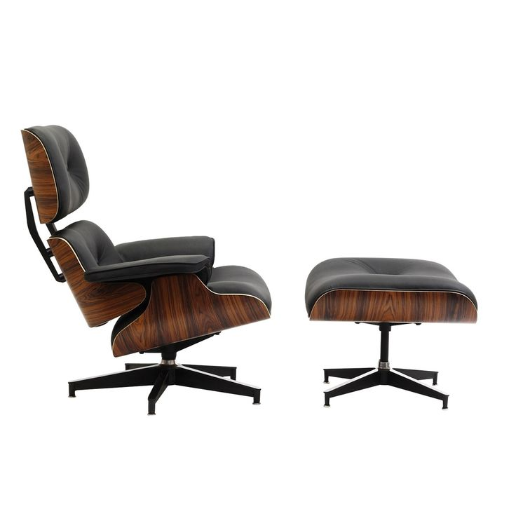 Eaze Black Leather/ Palisander Wood Lounge Chair | Overstock.com Shopping - The Best Deals on Chairs $836.99