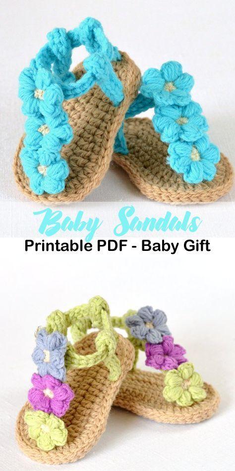 triple flowers baby sandal – baby shoes crochet pattern – baby gift #crochet #cr