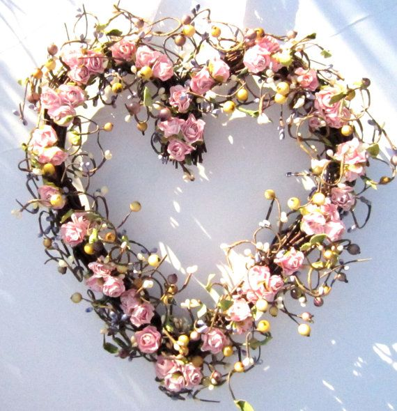 Heart Shaped Wreath - Pink Roses and Purple Berries -  Romantic Gift. Form Laurels by Laurie on Etsy