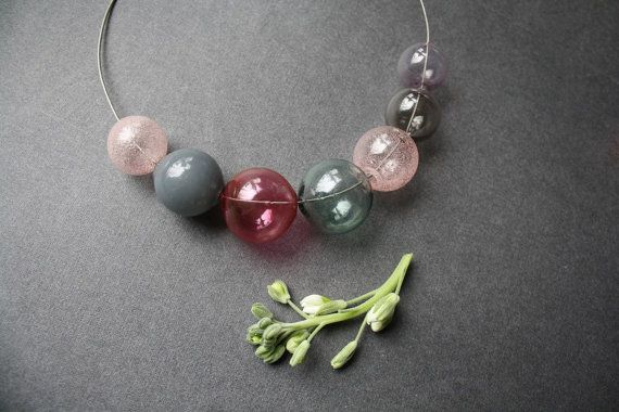 Necklace hollow blown glass beads. Delicate от LikeAGlassShop