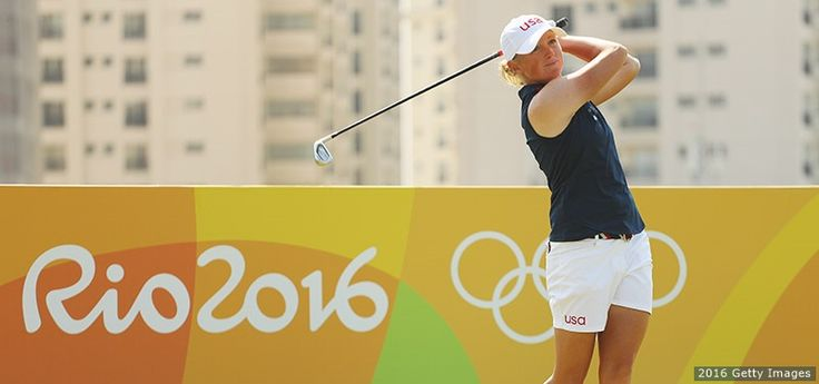 Stacy Lewis hits her tee shot on the eighth hole in the second round of women's golf at the Rio 2016 Olympic Games at Olympic Golf Course on Aug. 18, 2016 in Rio de Janeiro.