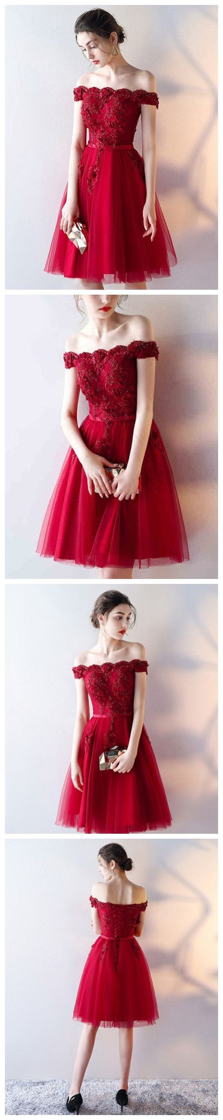 Charming A-line Off-the-shoulder Red Short Prom Dress Homecoming Dresses With Lace SKY990