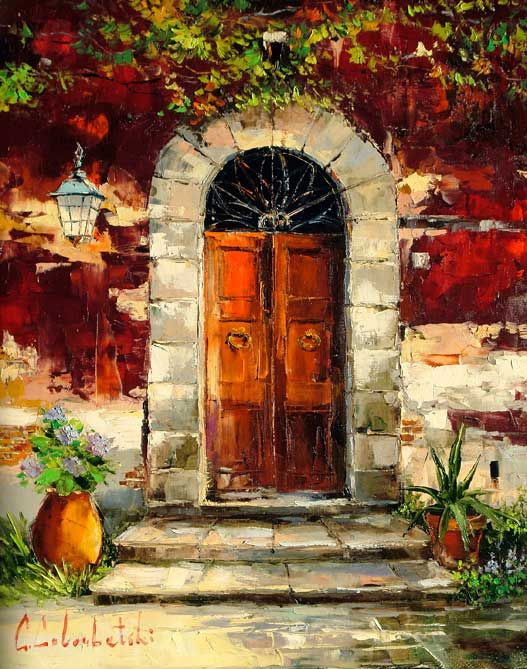 Tuscany Door II (2009) - 39 x 31 Original Oil on Canvas