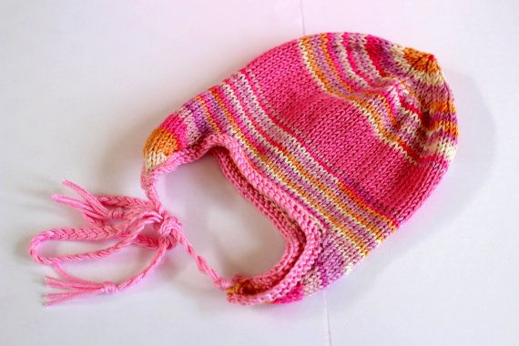 Pink Earflap Hat Baby Trapper Hat Fairisle Baby Hat by Pinknitting