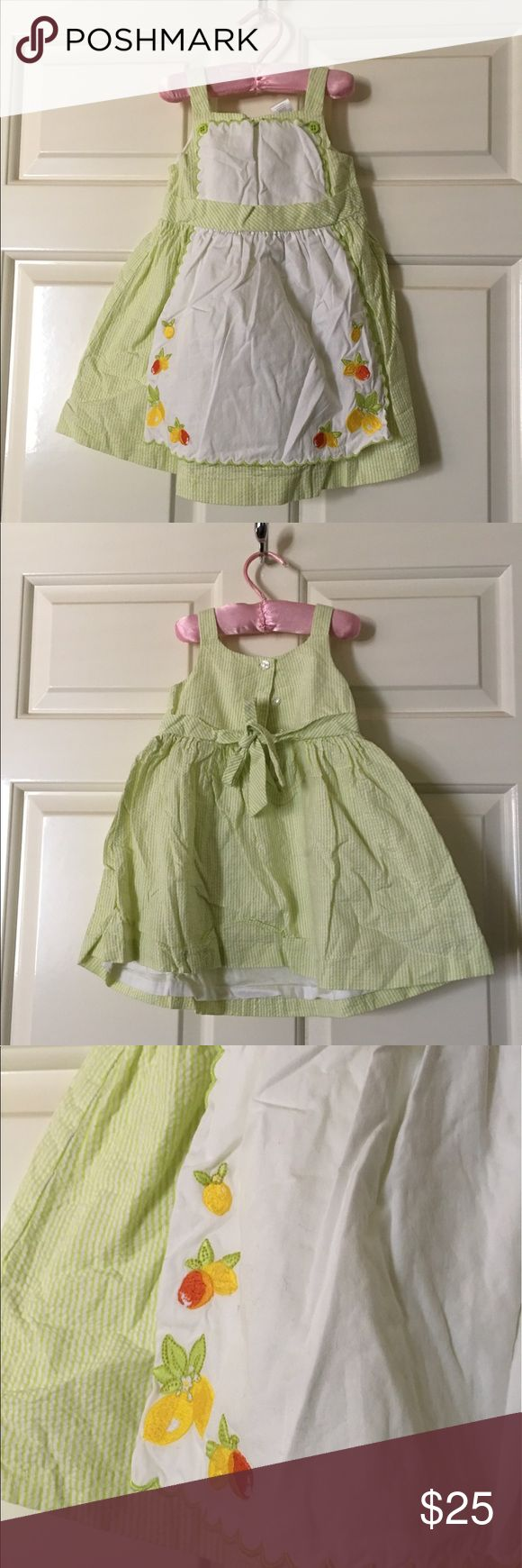 Janie and Jack Lemon 🍋 Apron Striped Dress Perfect for summer.  Adorable apron dress. Green and white pinstriped dress 👗 100% cotton. Janie and Jack Dresses Casual