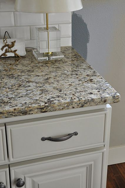 love that granite and subway tiles - White Bathroom Cabinets With Granite