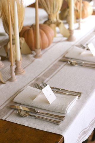 Natural & Cream Striped Linen Tablecloth