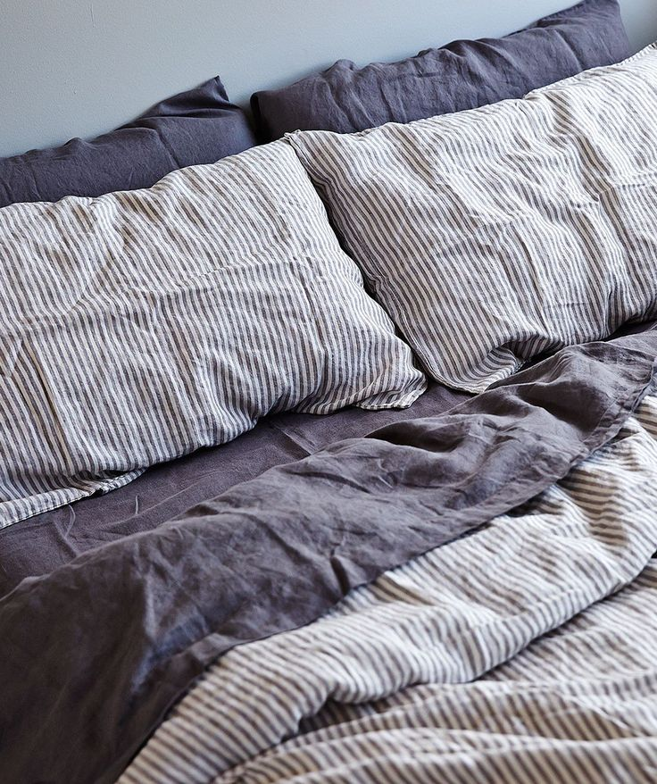 IN BED-Stripe Linen Duvet Set