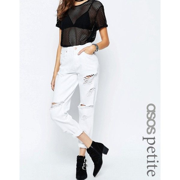 ASOS PETITE Original Mom Jeans In White With Extreme Rips (80 SAR) ❤ liked on Polyvore featuring jeans, petite, white, high waisted destroyed jeans, slim fit jeans, white ripped jeans, petite white jeans and white destroyed jeans