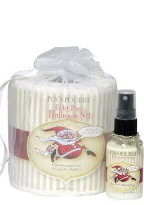 PooPourri Santa Toilet Paper Set 2oz Travel Gift Set by Poo-Pourri. $16.95. Poo~pourri - Santa Toilet Paper Gift Set. Poo~pourri - Santa Toilet Paper Gift Set Ho, Ho, Ho, Oh No.... Gotta Go! Ever wonder what to give the person that has everything? Why not give the Poo~Pourri Original gift set. A travel size bottle of Poo~Pourri is cleverly tucked into the core of packaged toilet tissue. A white organza bag completes this elegant gift set. Pefect for this holiday! Poo~p...