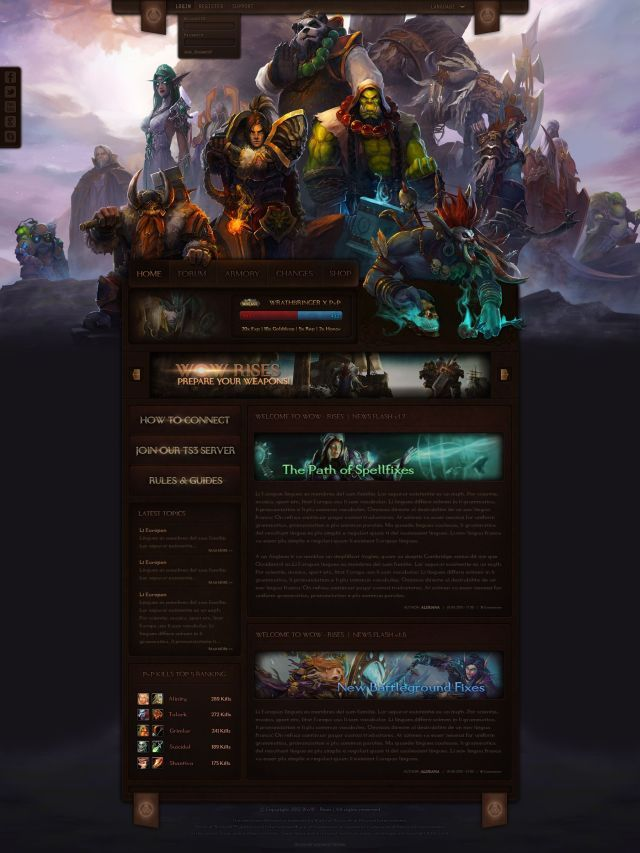 Wow Guild Website Template Free Download Free Website Templates Website Template Website Design