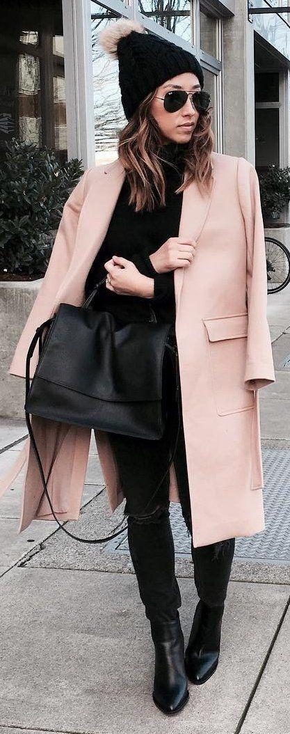 Black Beanie / Pink Coat / Black Leather Booties / Black Leather Tote Bag