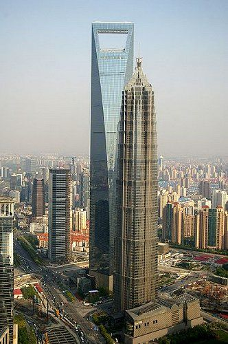 Shanghai World Financial Center and the Jin Mao Tower, China's tallest and third tallest buildings