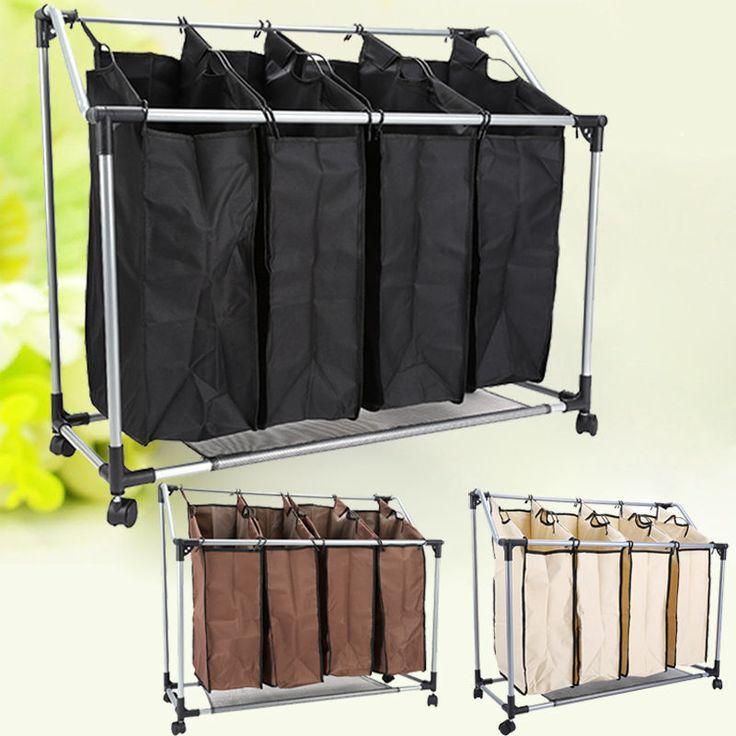 4 Fächern Wäschesortierer Wäschesammler Wäschesack Wäschekorb Wäschenetz 3 Farbe in Möbel & Wohnen, Haushalt, Wäsche | eBay