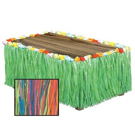 Multi-Colored Tropical Hawaiian Luau Artificial Grass Table Skirt Decoration
