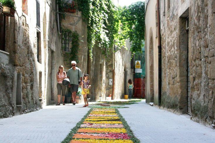 The Infiorata flower festival in Pitigliano, Maremma Tuscany Italy