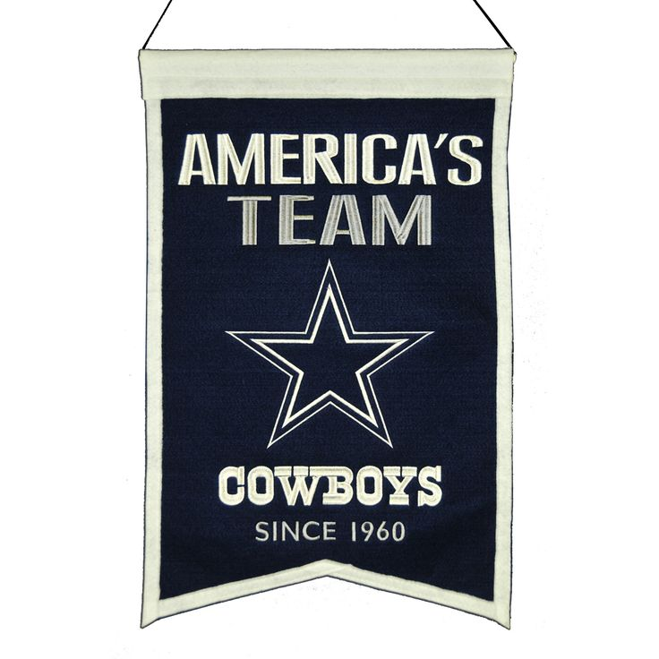"Support the Dallas Cowboys with a 14"" x 22"" beautifully embroidered banner that shows your pride for your Dallas Cowboys. The banner is constructed with heavy wool, detailed embroidery and applique. The banner includes a hanging rod and cord for ease in hanging."