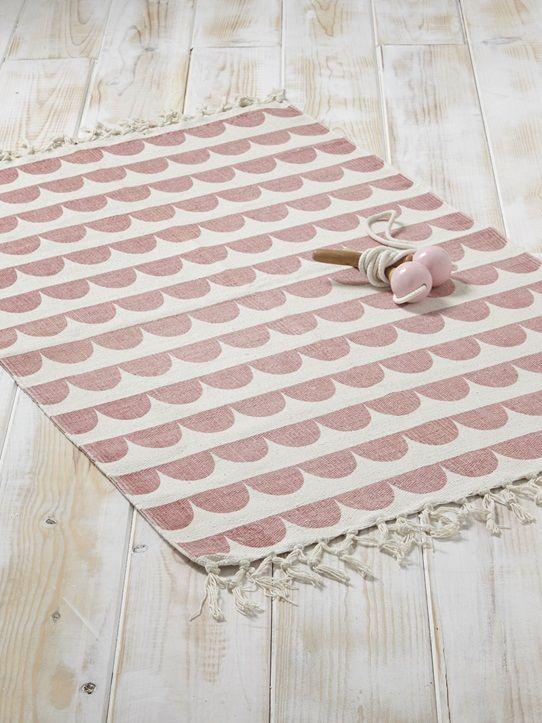 Teppich, grafisches Muster, Baumwolle GELB/FISCHGRAT+ROSA/FESTONBORTE