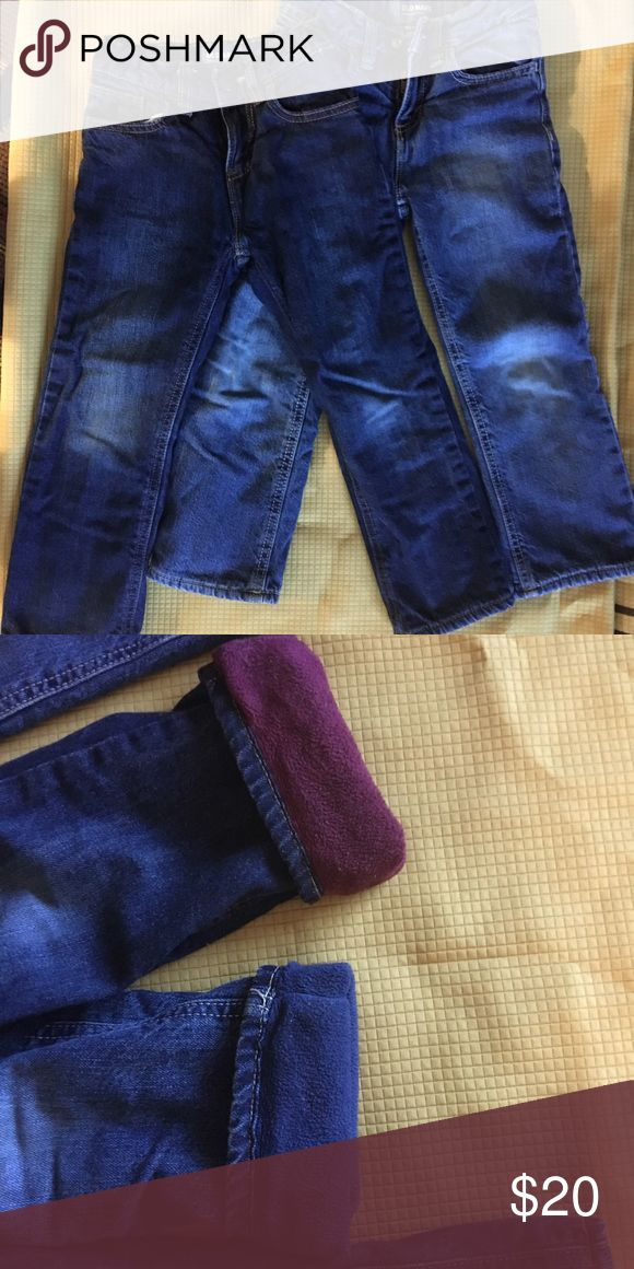 Old navy fleece lined jeans for boys Old navy fleece lined jeans for boys. Worn sparingly. In very good condition. Size 4T. Old Navy Bottoms Jeans