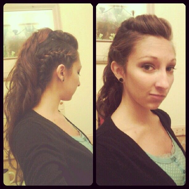 a unique look for me, a braided mohawk. first section off the middle of your hair. then french braid the sides tightly and pin them to the nape of your neck, letting the remaining hair hang down. then, starting from the back-most part of your sectioned hair, pin it with a slight bump. take another section, and pin another one on top of the previous. keep doing till you get to your bangs to form a pomp. lightly spray with product to keep frizz down and curl if you want to. then ROCK IT.