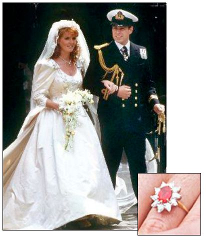 SARAH FERGUSON's engagement ring from Prince Andrew, whom she married on July 23, 1986, was a large Burmese ruby surrounded by ten diamonds. The ring was made by Garrard's, the royal jeweler.