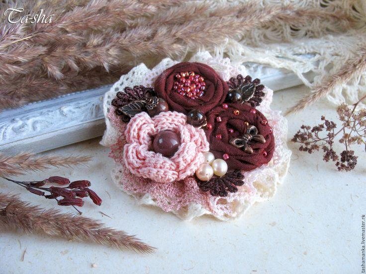 """Купить """"Мерло"""" бохо брошь бордовая вишневая цветок розовый - брошь цветок, брошь"""