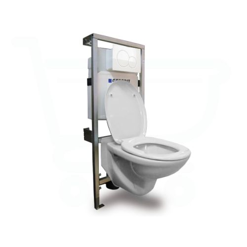 Plieger brussel toiletset inclusief Inbouwreservoir en closetzitting Geberit Sigma 01 afdekplaat wit - SW484 - Sanitairwinkel.nl