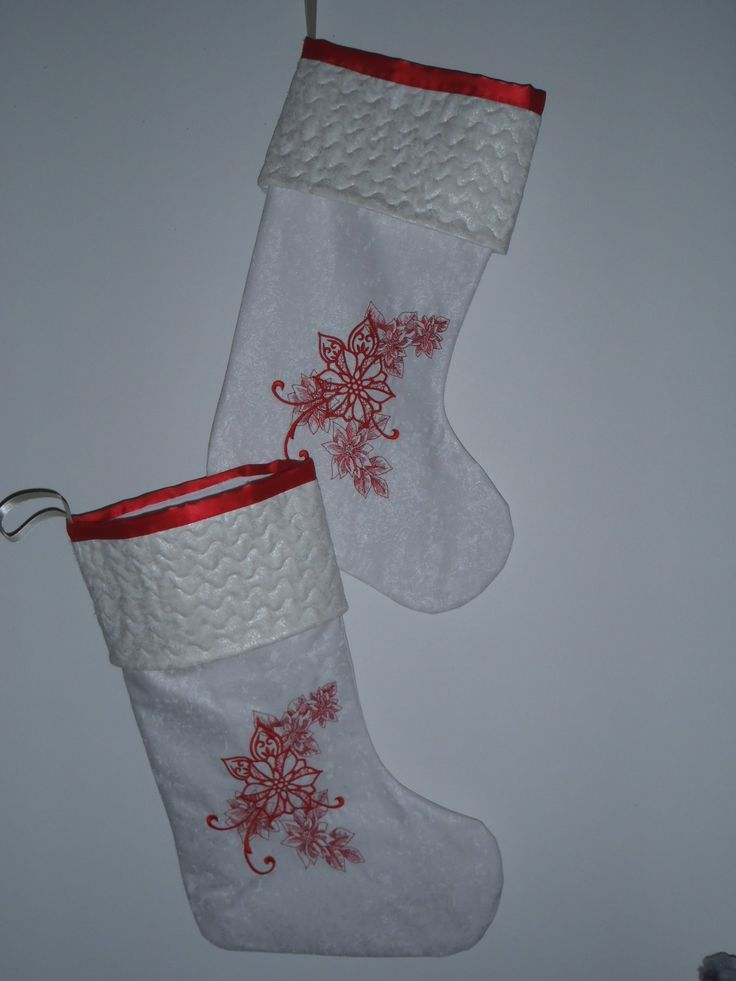 201648 - Christmas stocking -pale gold/white fabric,  poinsettia echo embroidery,  quilted cuff