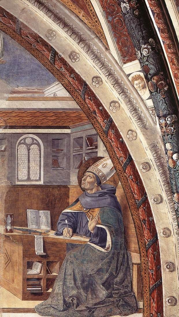 ❤ - BENOZZO GOZZOLI (1421 - 1497) - St. Augustine - St. Augustine's Vision of St. Jerome. 1464-64. Fresco. Apsidal Chapel of Sant' Agostino, San Gimignano, Italy.