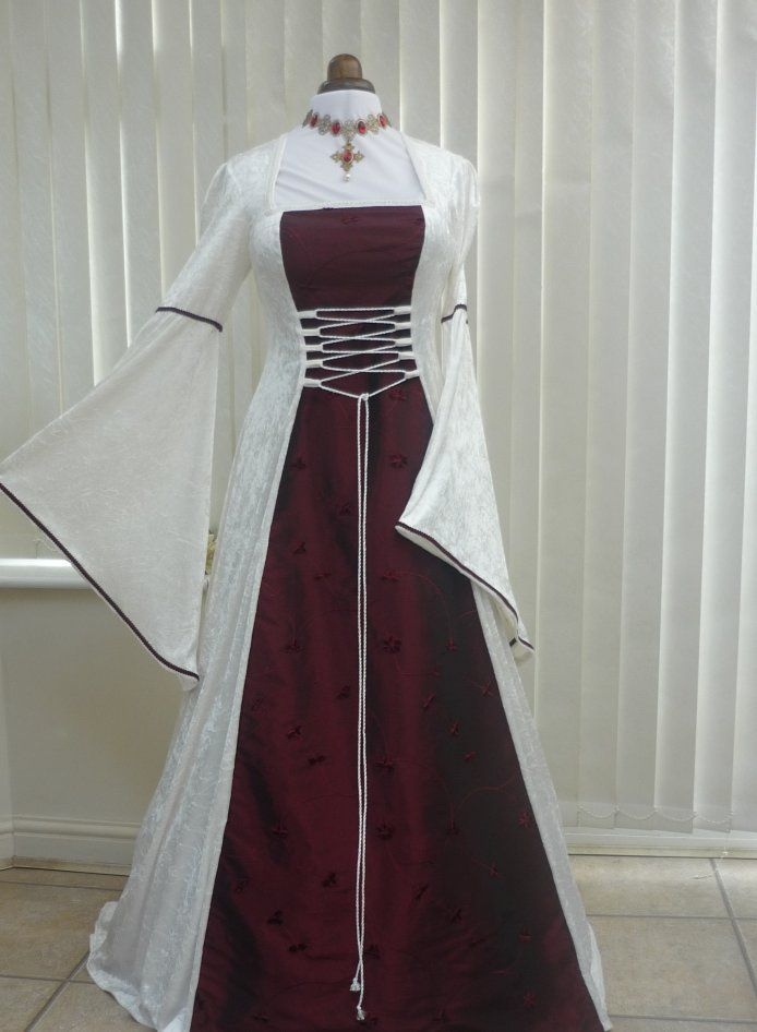 Medieval Pagan Ivory and Wine Velvet Wedding Dress, Dawns Medieval Dresses