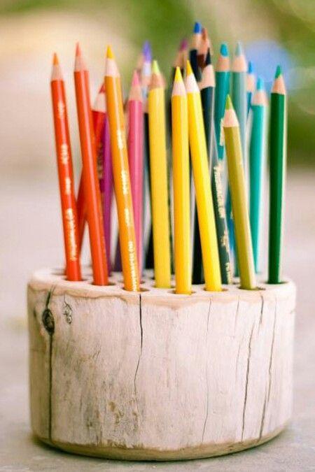 Ordnung in jedem Kinderzimmer >> Stifte Halterung Baumstamm