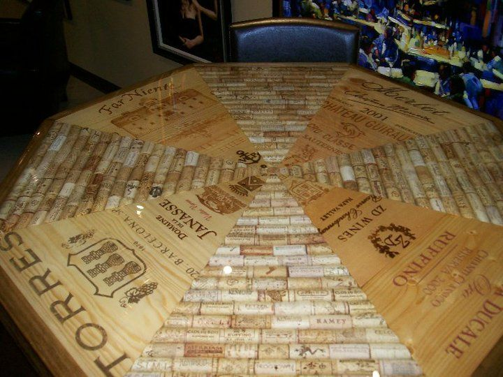 Wine Cork Table - loving the corks paired with the wine box panels!