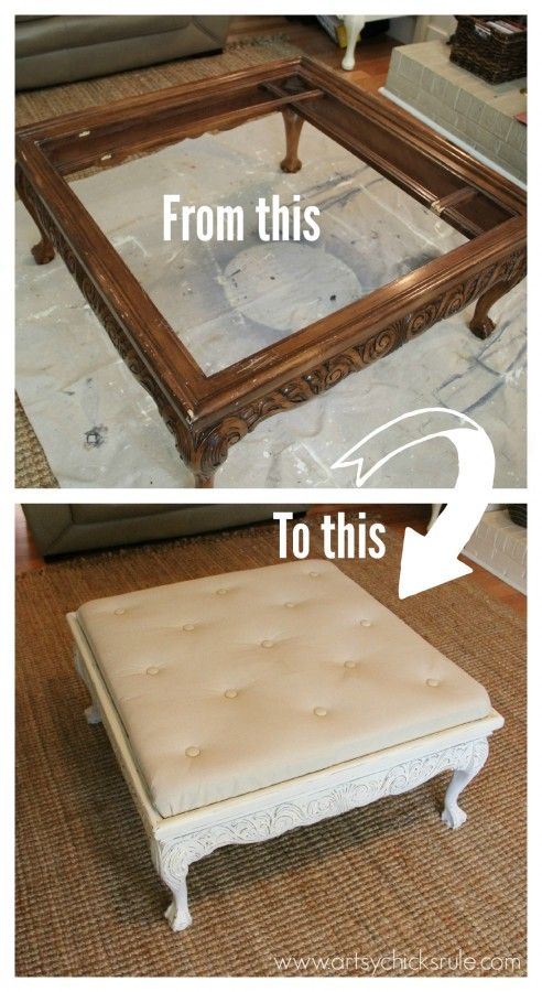 Coffee Table turned Ottoman before and after - artsychicksrule.com #makeover #ottoman #diy (love this, the top of our square coffee table is wrecked but the sides & legs are in great shape)