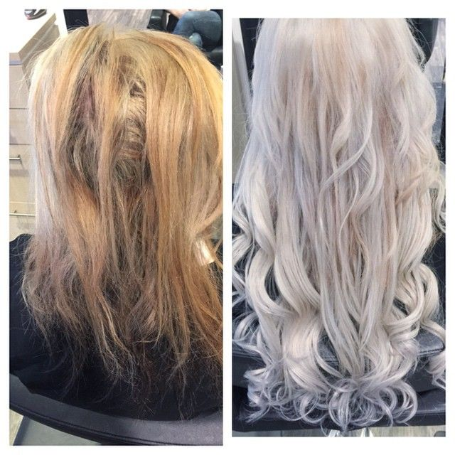 From brassy to classy. Her was extremely over processed ...