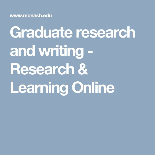 Graduate research and writing - Research & Learning Online