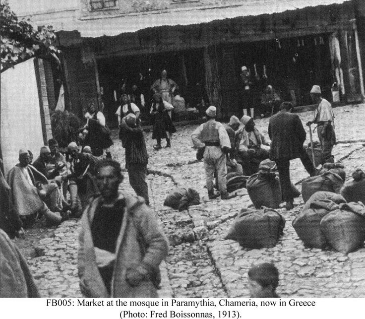 Market at the mosque in Paramythia, Chameria, now in Greece, 1913, Fred Boissonnas