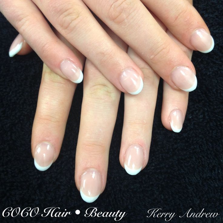 Sculptured french round acrylic nails nail design for Acrylic nail decoration