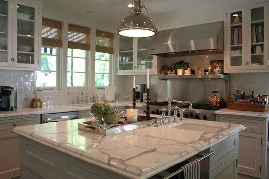 Marble, subway tile, kitchen: House Tours, Dreams Kitchens, Subway Tile, Apartment Therapy, Cabinets Color, Marbles Countertops, Islands, White Cabinets, White Kitchens