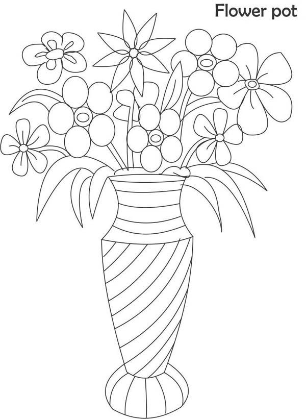 Flower Vase Coloring Page For Kids Flower Vase Coloring Page For