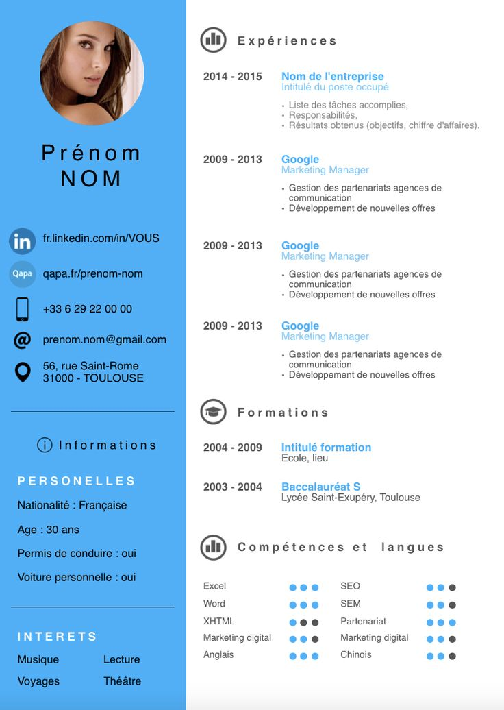 cv exemple moderne restauration