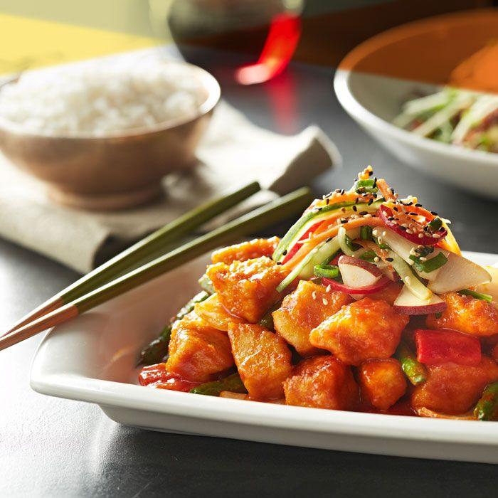 Korean BBQ Chicken Stir-Fry features sweet & spicy red chili sauce ...